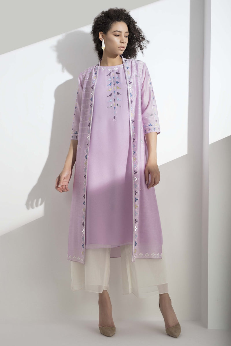 Lilac Purple Aari Embroidered Jacket Set In Georgette - 3110