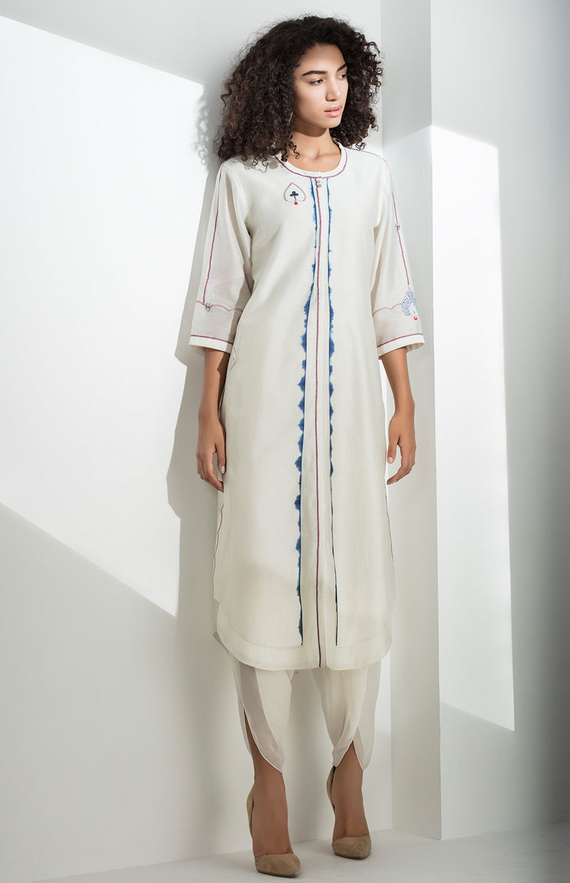 Ivory Shibori Work Tunic Set in Chanderi - 3152
