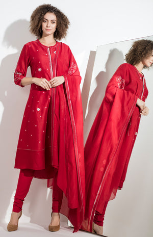 Red Embroidered Churidar Kurta Dupatta in Chanderi - 3161