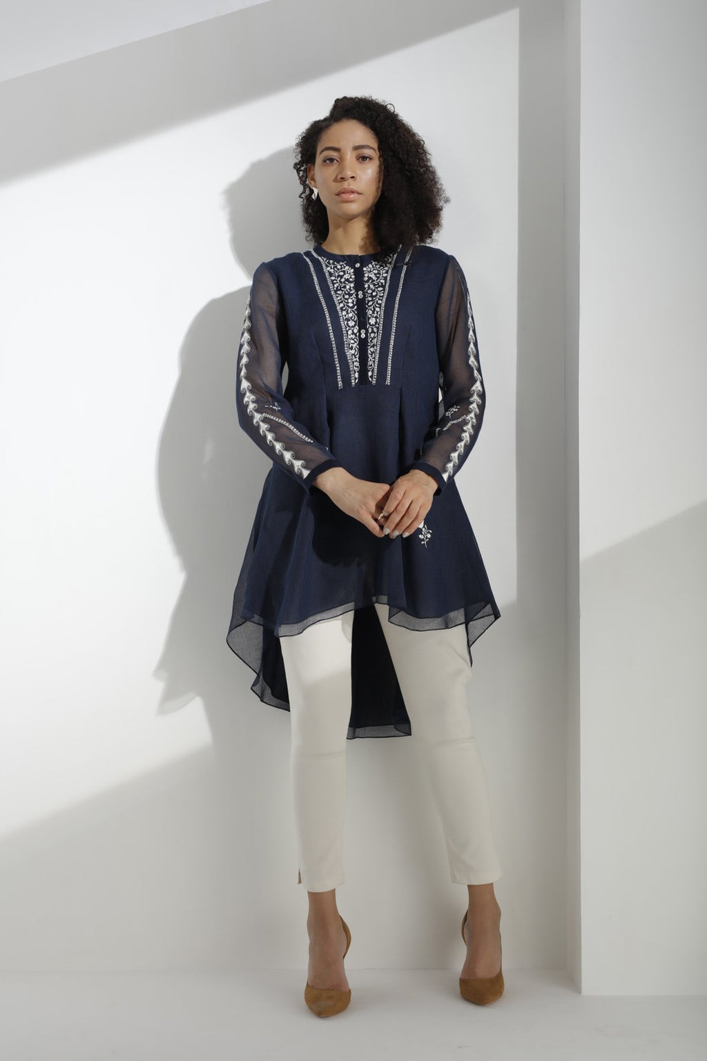 Navy Embroidered Shirt in Kota Silk - 3167