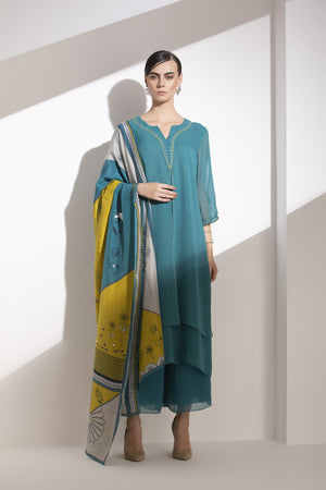 Teal Embroidered Kurta Dupatta Palazzo in Viscose Georgette - 3266