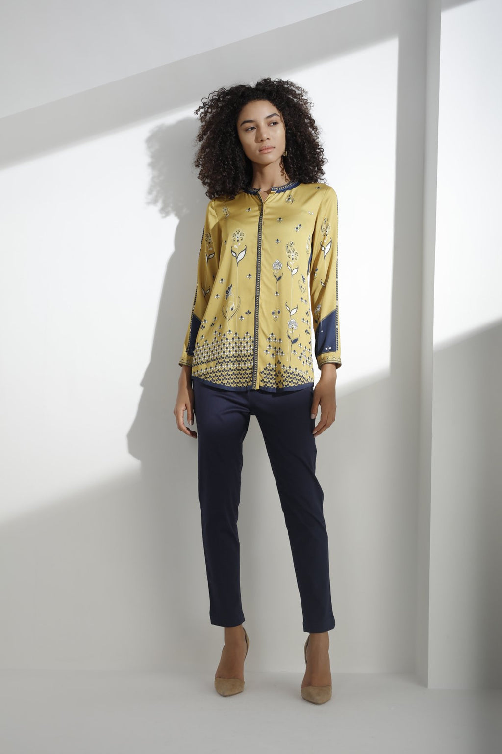 Mustard Digitally Printed Shirt in Poly Satin - 3271