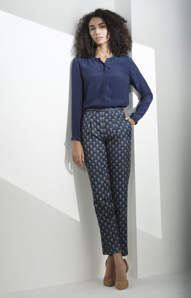 Navy Printed Trousers in Poly Twill Satin - 3272