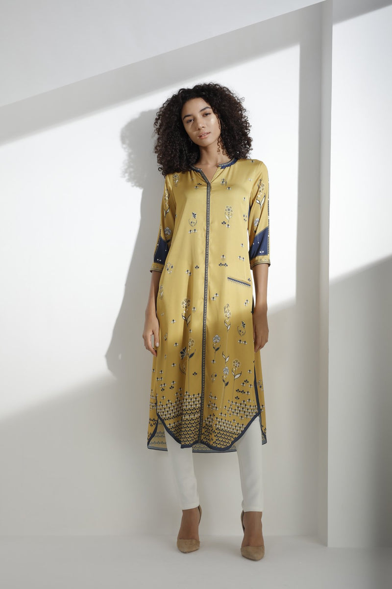 Mustard Digitally Printed Tunic in Twill Satin - 3274