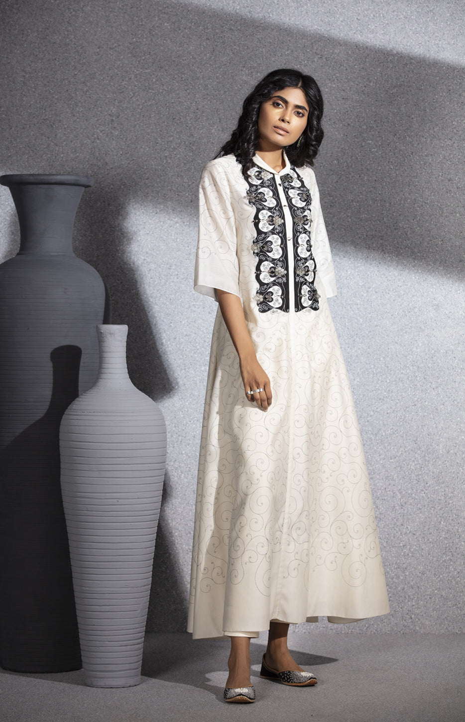 Ivory Screen Printed Flare Tunic In Chanderi - 3500