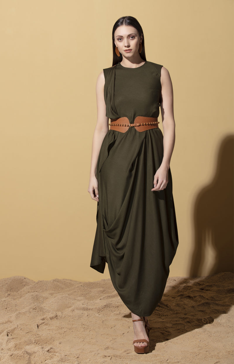 Nzuri Draped Olive Green Dress in Twill