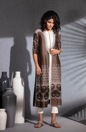 Brown Screen Printed Jacket Tunic Set In Chanderi-3508