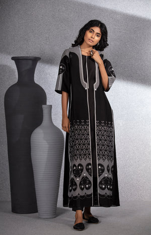 Black Screen Printed Jacket Tunic Set In Chanderi-3508