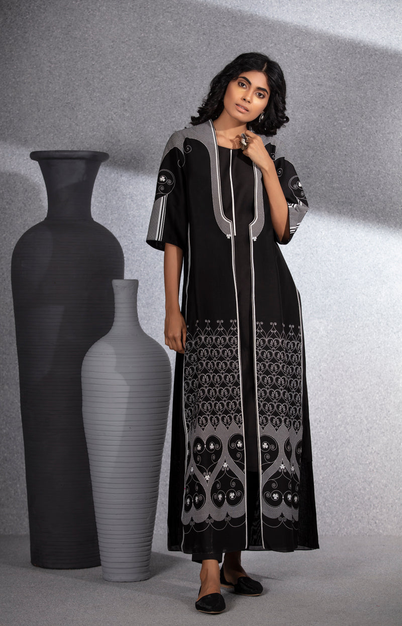 Black Jacket Set in Chanderi