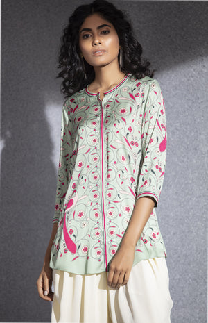 Sea Green Digital Printed Shirt in Poly Satin - 3518