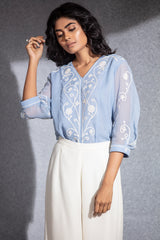 Tropical Blue  Embroidered Shirt in Viscose Georgette-3519