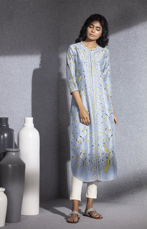 Tropical Blue Digital Printed Tunic In Chanderi-3520