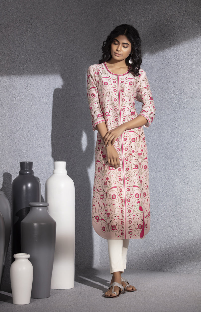 Light Pink Digital Printed Tunic In Chanderi-3520