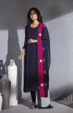 Navy Embroidered Churidar Tunic Dupatta In Georgette - 3524