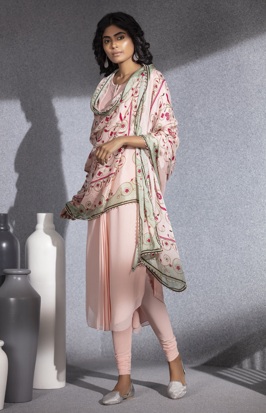 Light Pink Churidar Tunic  With Digital Printed Dupatta  In  Georgette -3525