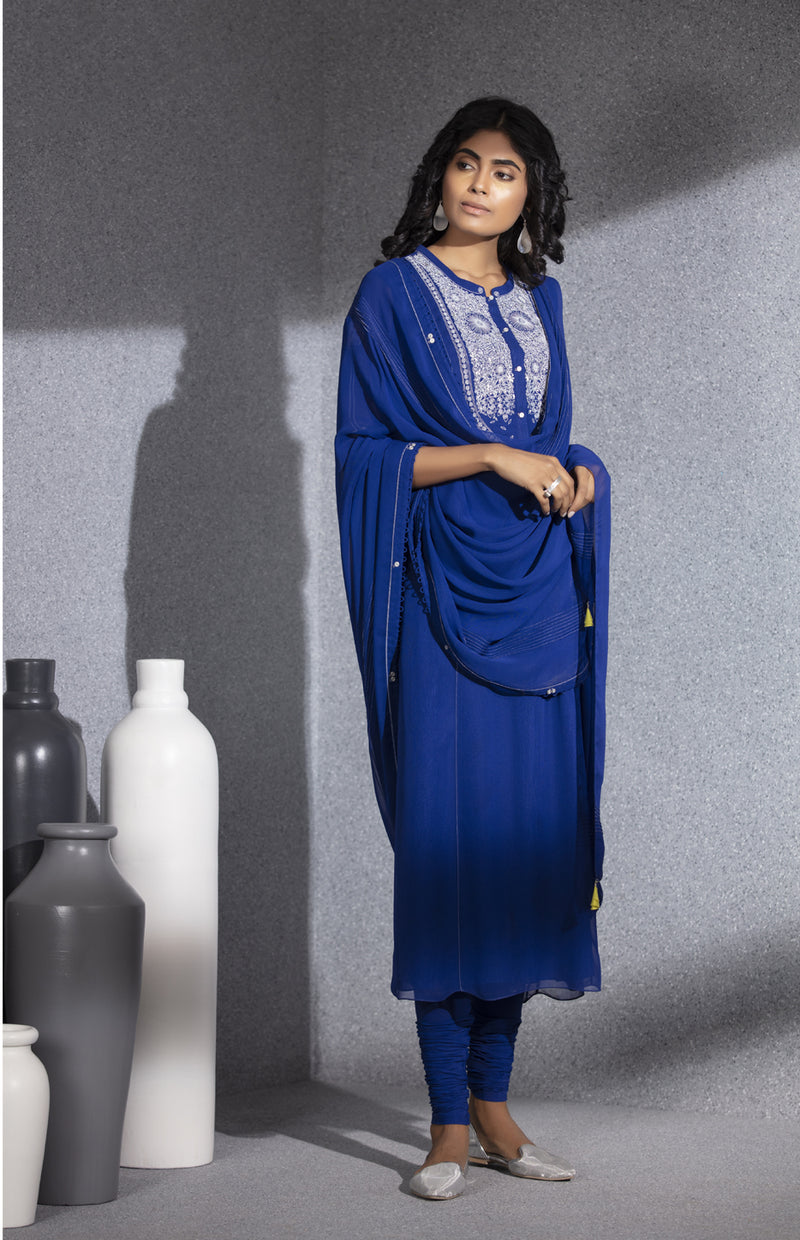 Electric Blue Embroidered Churidar Tunic Dupatta In Georgette -  3528