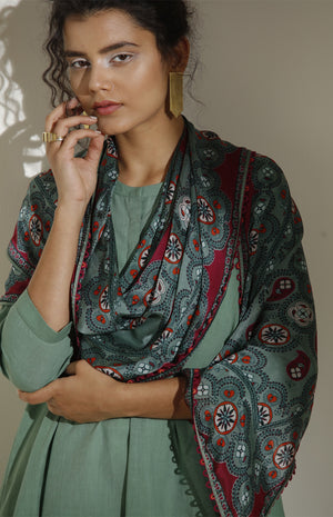 Dark Green Scarf-3539