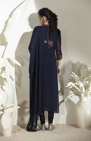 Navy Embroidered Churidar Kurta Dupatta in Georgette -3570