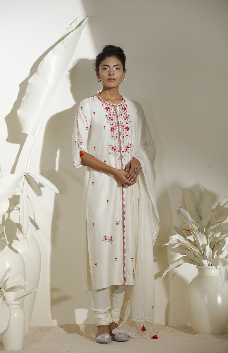 Ivory Embroidered Churidar Kurta Dupatta in  Georgette -3570