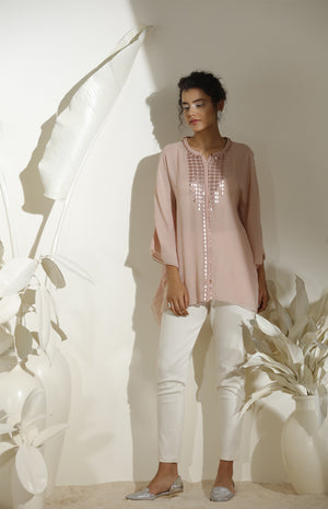 Pink Shirt In Georgette - 3572