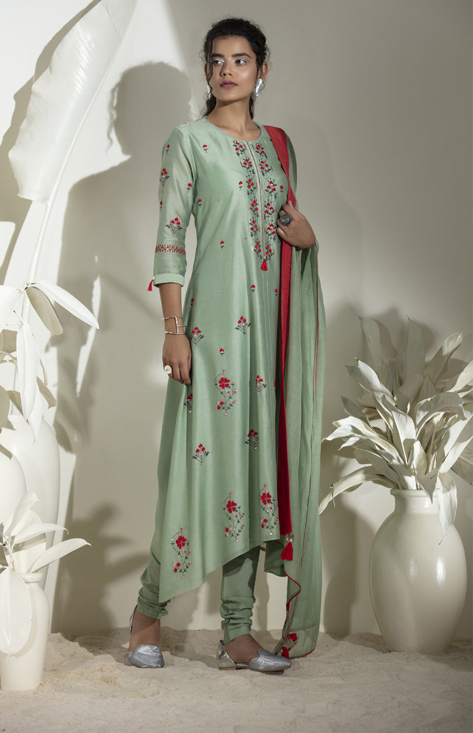 Light Green Embroidered Anarkali in Chanderi -3573