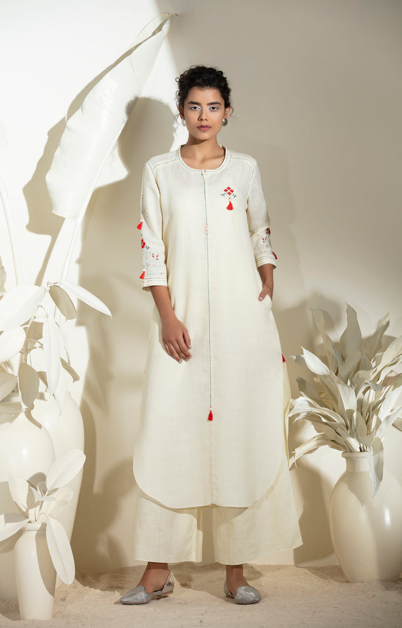 Ivory Embroidered Tunic in Linen -3574
