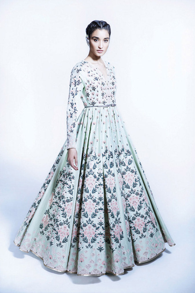 Mint Green Floral Aari Embroidered Anarkali Dress In Chanderi - 2317