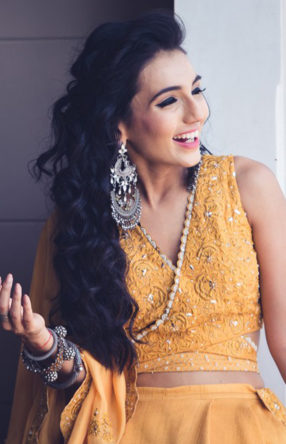 Masoom Minawala Wearing a Mustard Lehenga, Blouse and Dupatta set