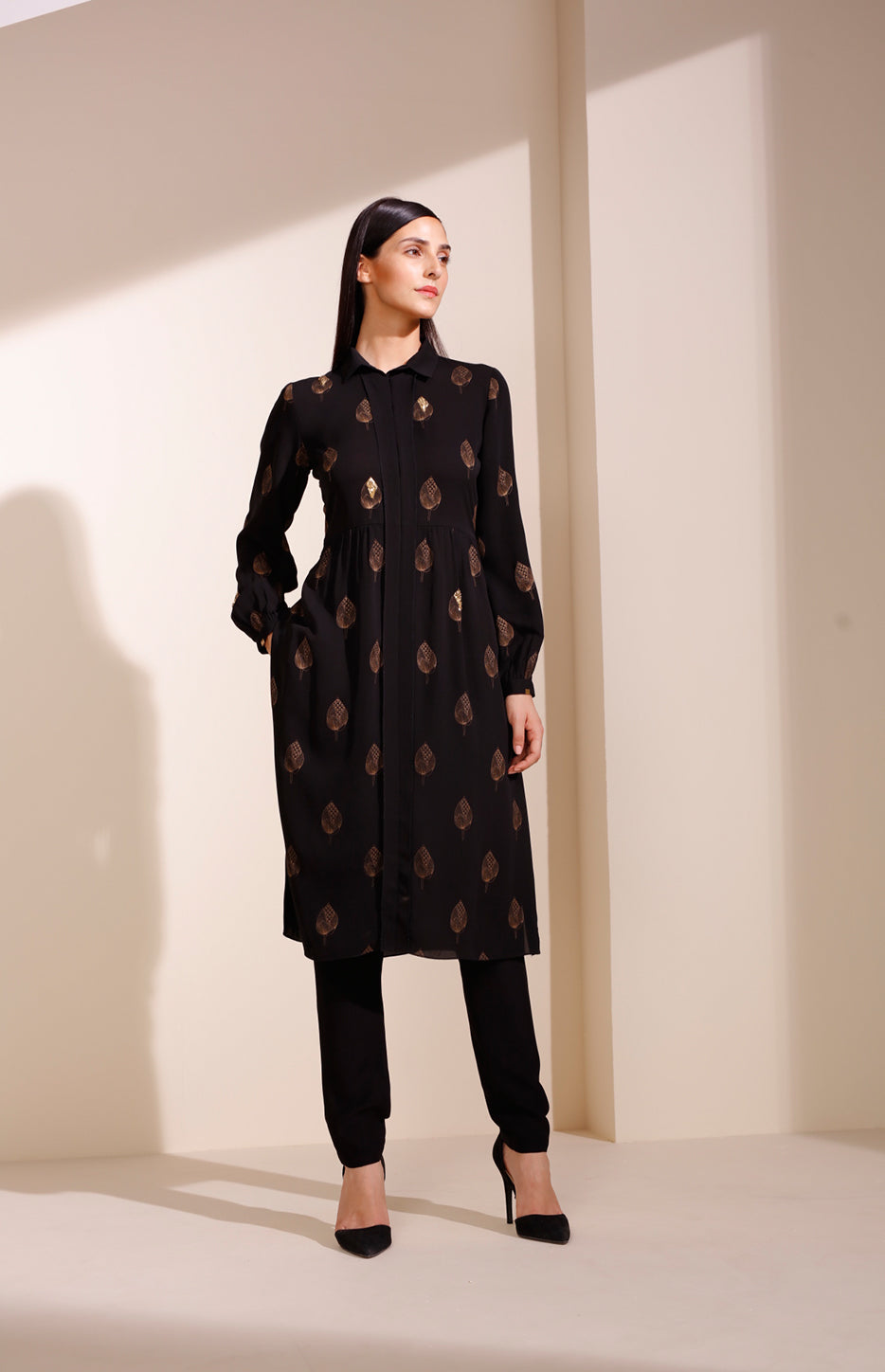 Black Screen-printed Tunic In Georgette
