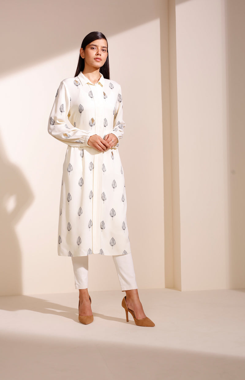 Ivory Screen printed Tunic In Georgette