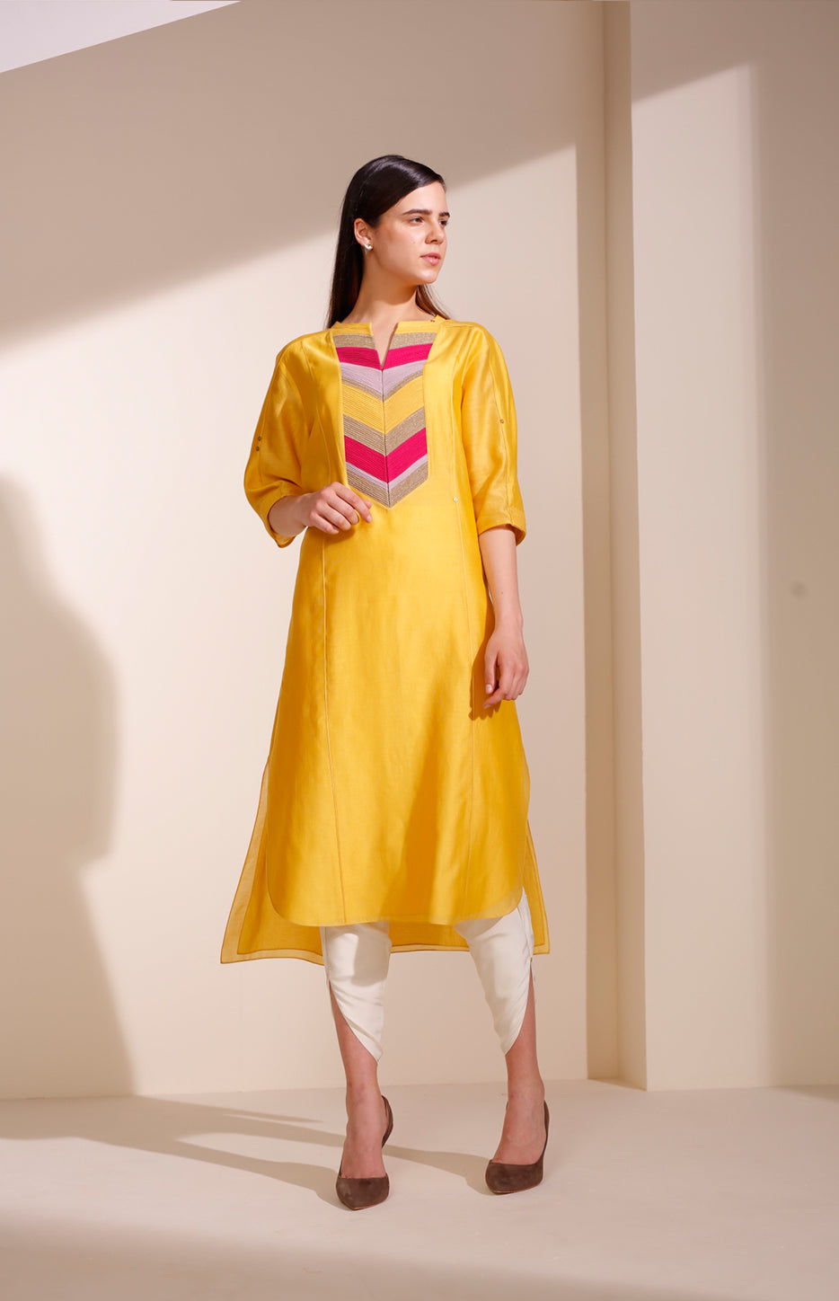 Mustard Tunic Set In Chanderi - 4016