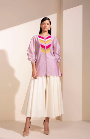 Dusty Lilac  Shirt With Khadi Palazzo-4017