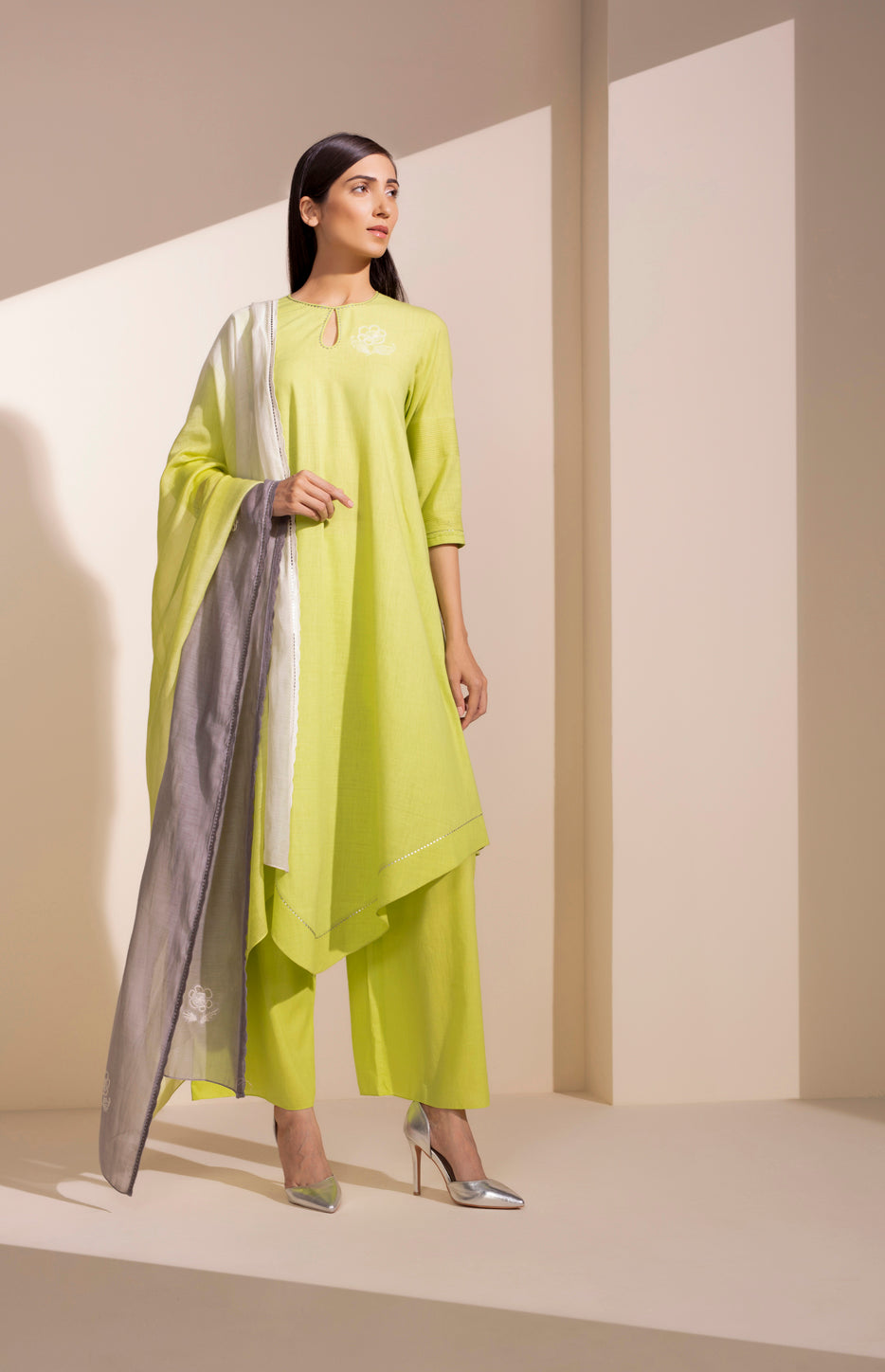 Neon Lime CKD In Khadi - 4018