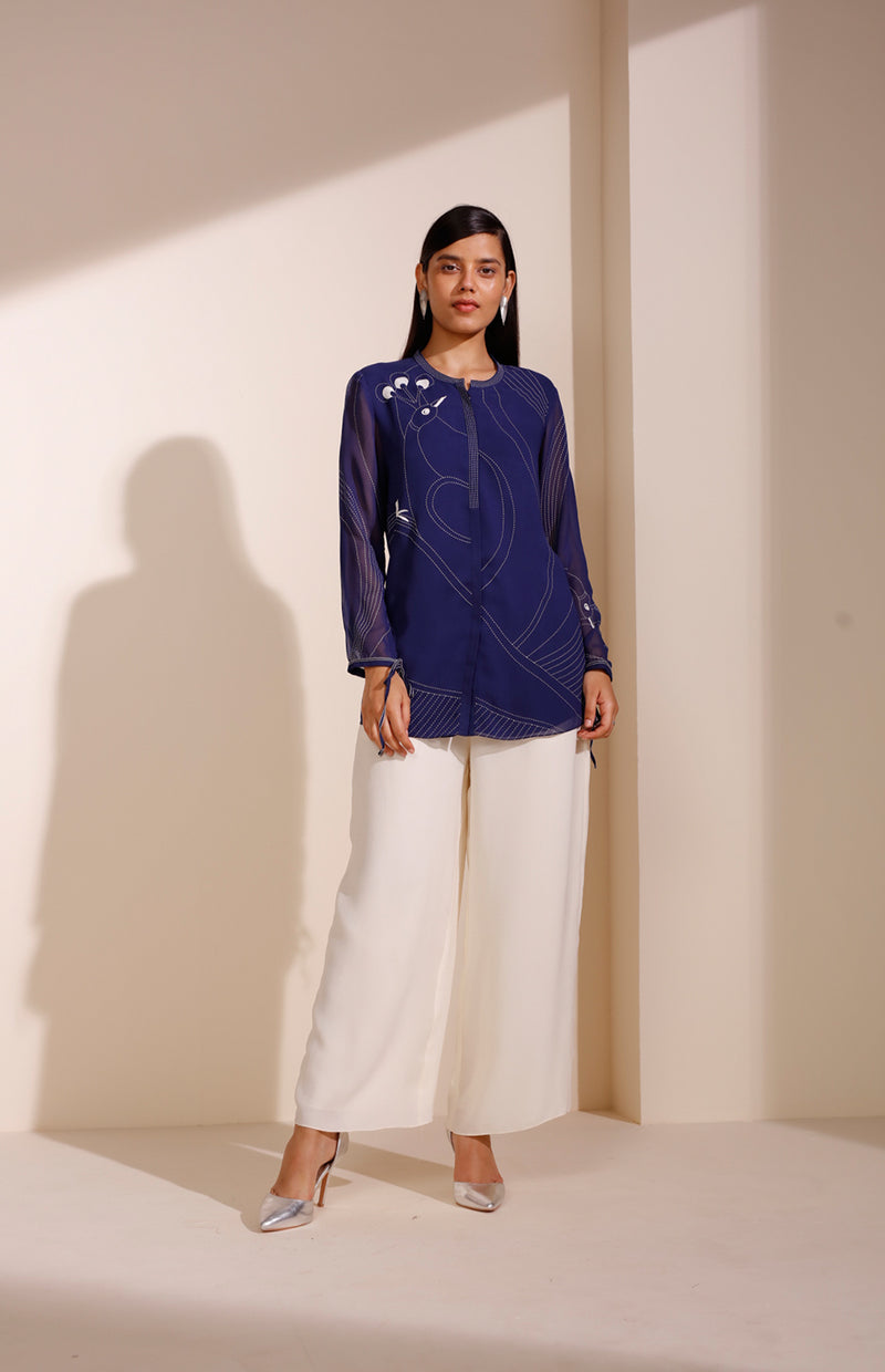 Indigo Shirt In Georgette With Bird Print