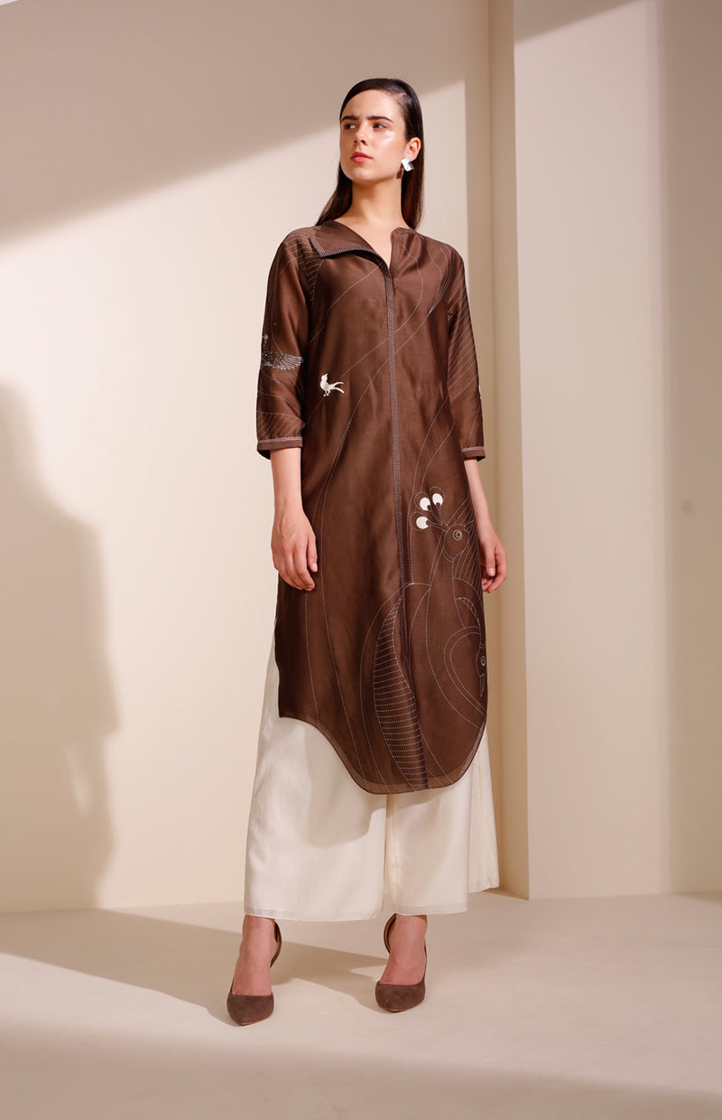 Brown Tunic in Chanderi with a Flap Collar