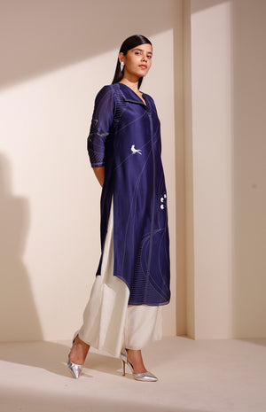 Indigo Tunic In Chanderi With A Flap Collar