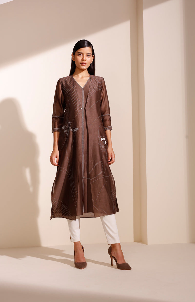 Brown Jacket Set In Chanderi With Screen Printed Bird