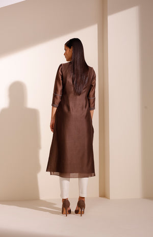 Brown Jacket Set In Chanderi With Screenprinted Bird