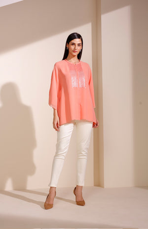Peach Shirt In Georgette With Sequined Embroidery