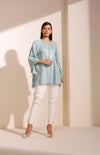 Sea Blue Shirt In Georgette With Sequined Embroidery