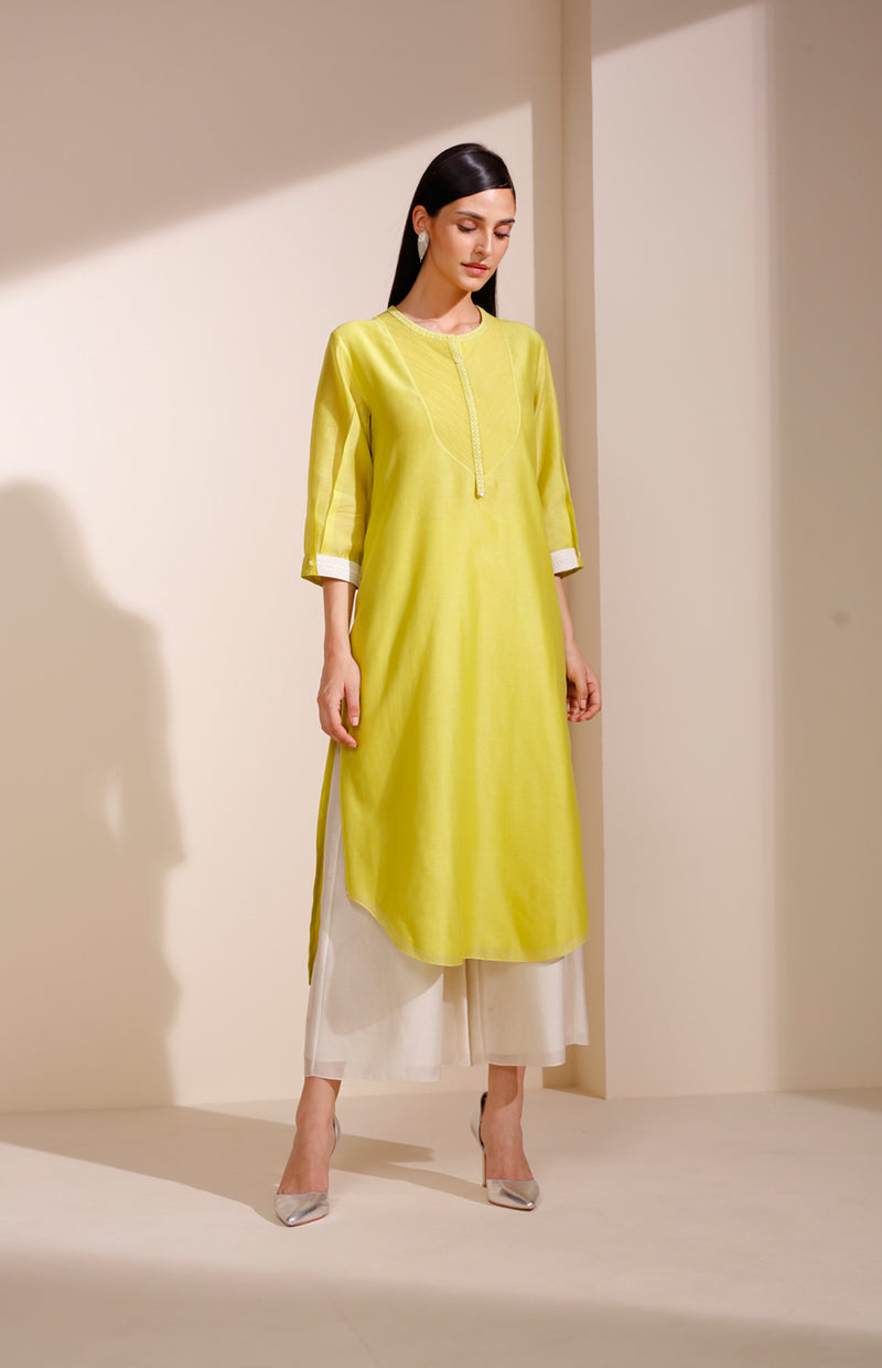 Lime Tunic In Chanderi With Corded Sleeves
