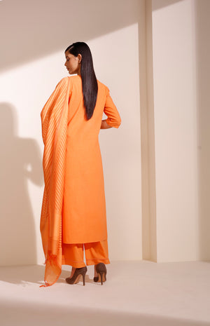 Orange CKD In Khadi With Detailed Embroidery