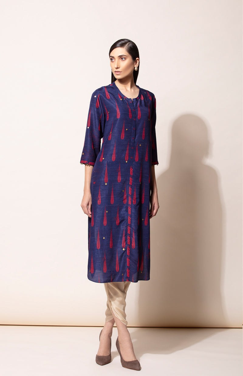 Navy hand embroidery kurta with Toosh dhoti pants-4032