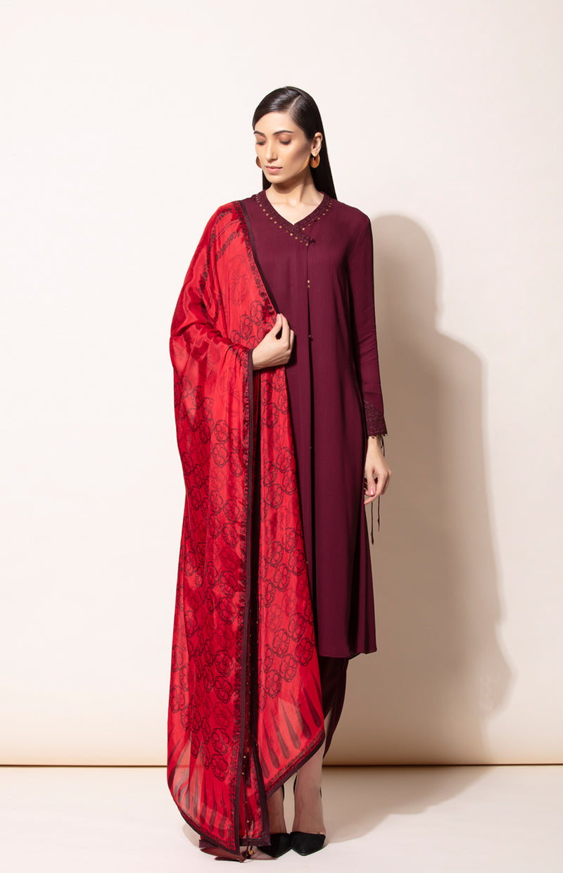 Burgundy suit with dhoti and Red digital printdupatta