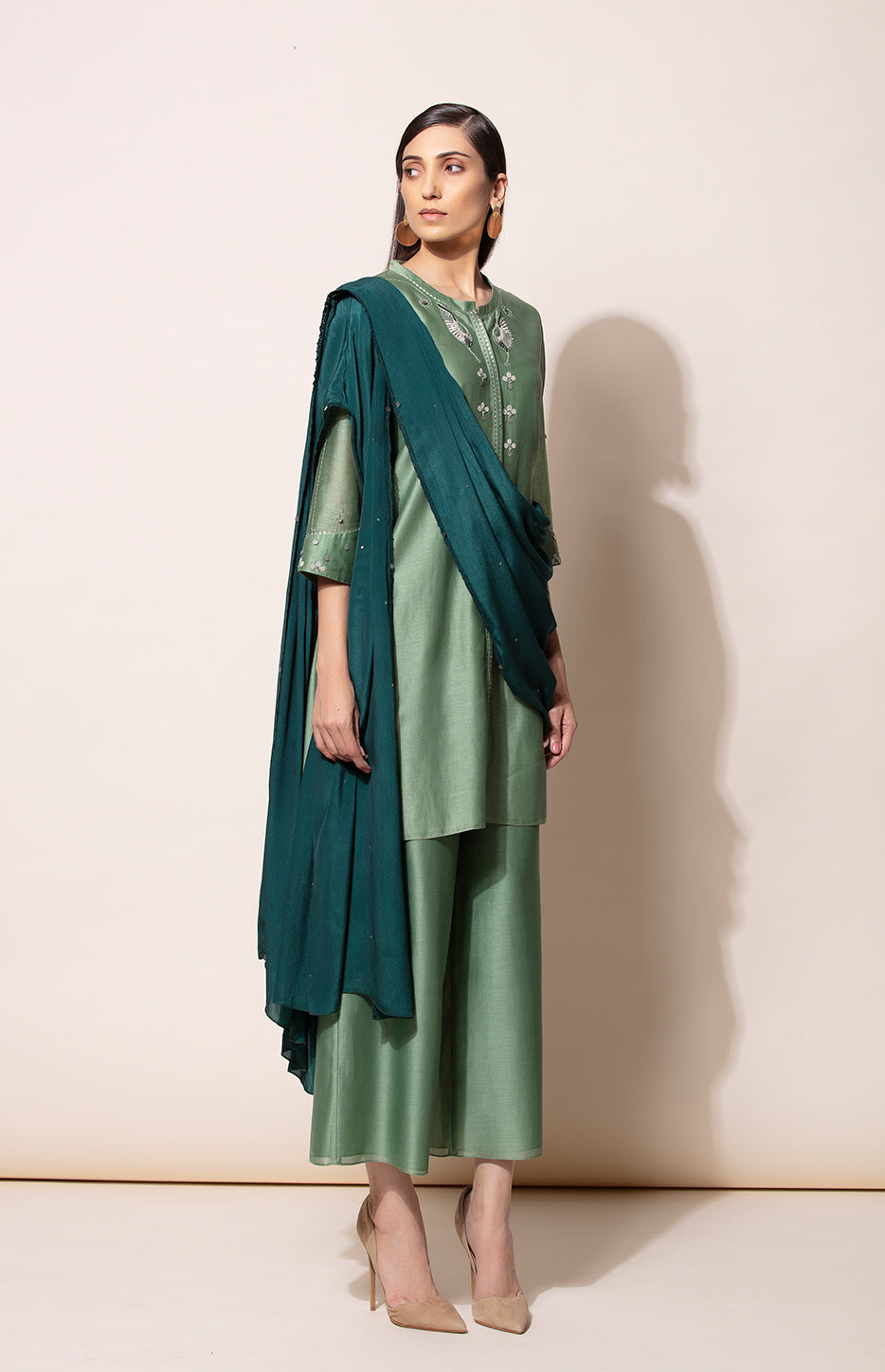 Dirty Green Tunic Palazzo and Bottle Green pre draped Dupatta set
