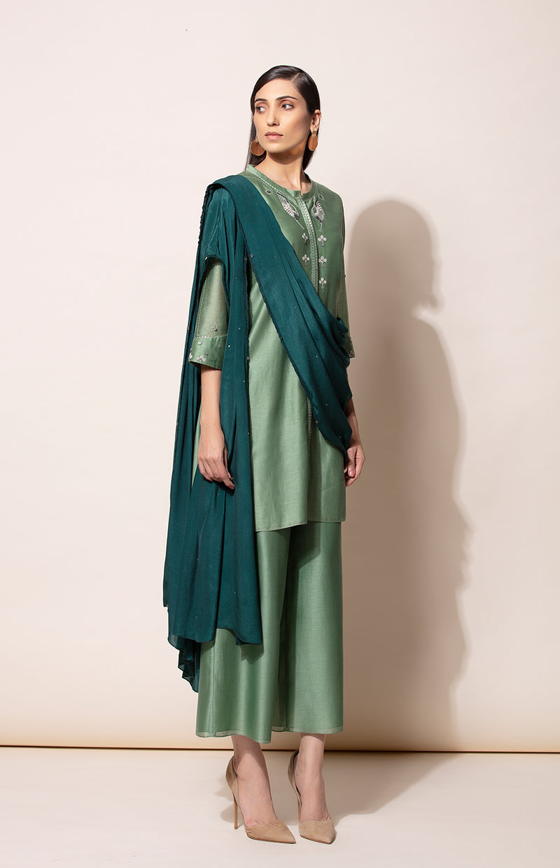 Dirty Green Tunic Palazzo and Bottle Green predraped Dupatta set