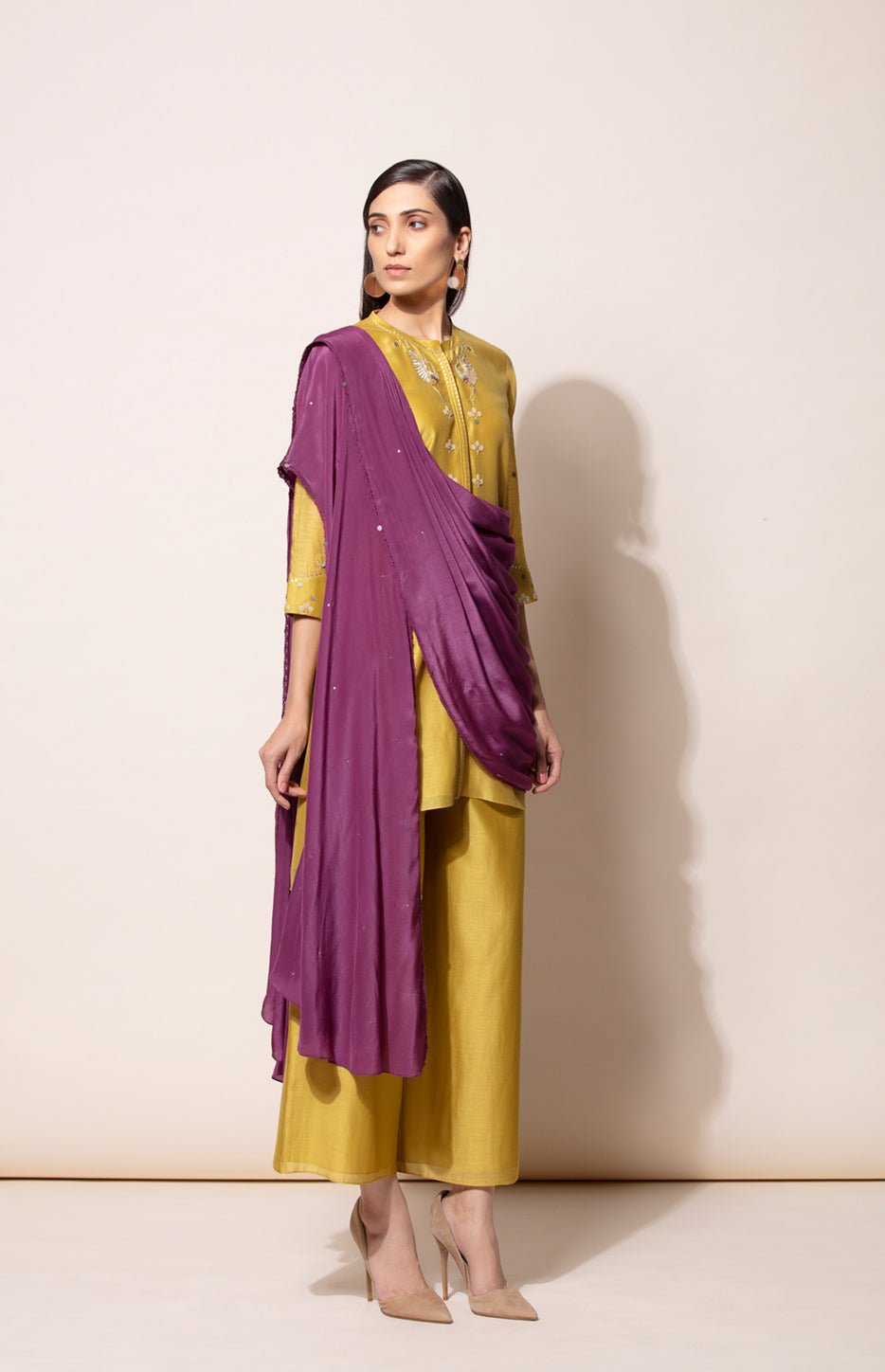 Dirty Mustard Tunic, Palazzo and Deep Purple pre- draped Dupatta set