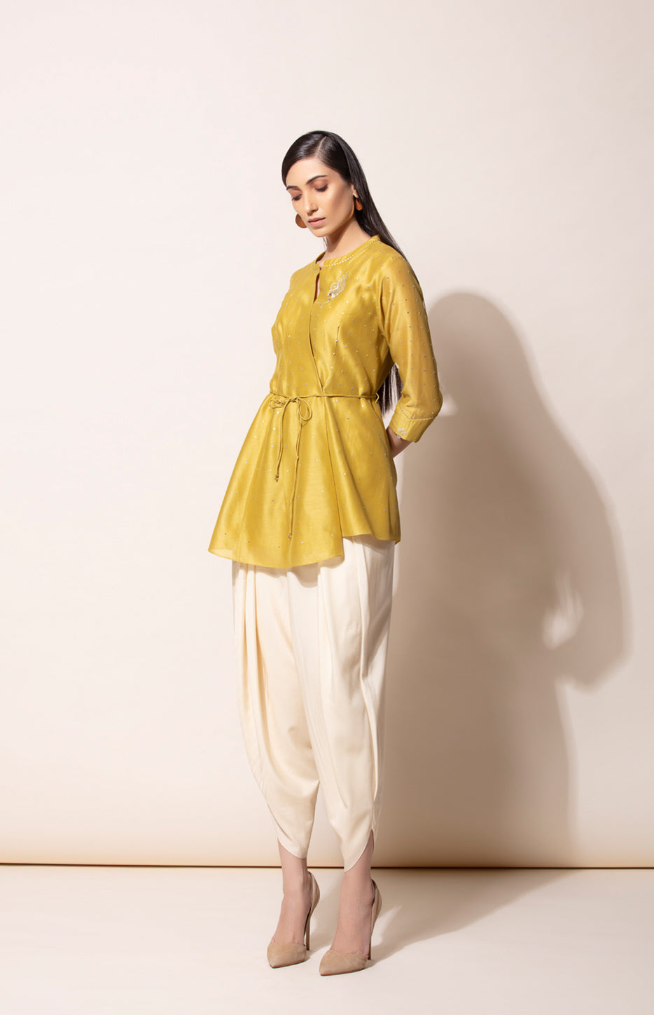 Dirty Mustard wrap shirt in Chanderi