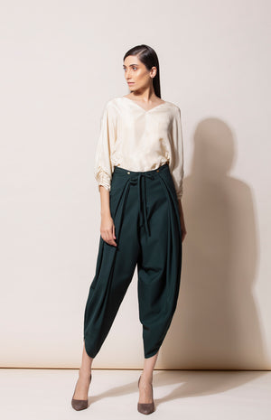 Bottle Green Dhoti Pants in Crepe