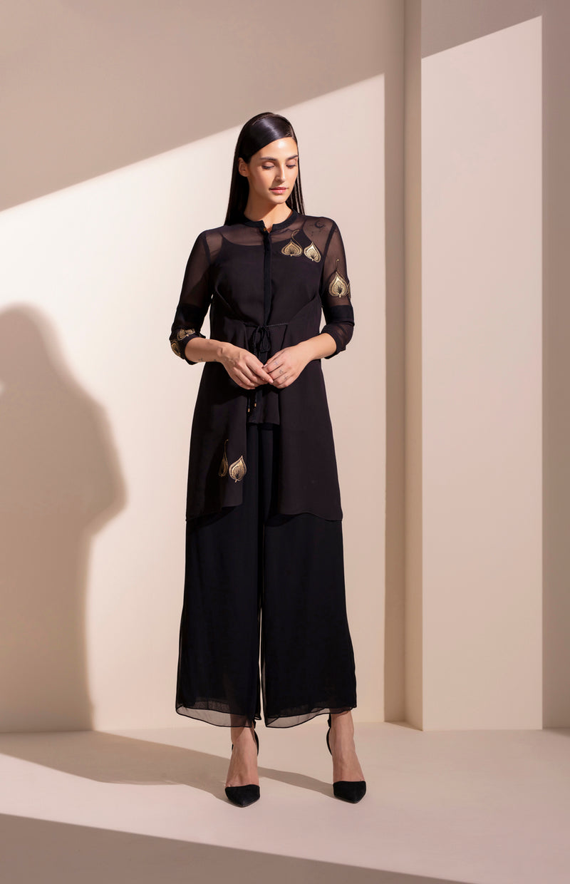 Black Georgette Tunic With Inner - 4041